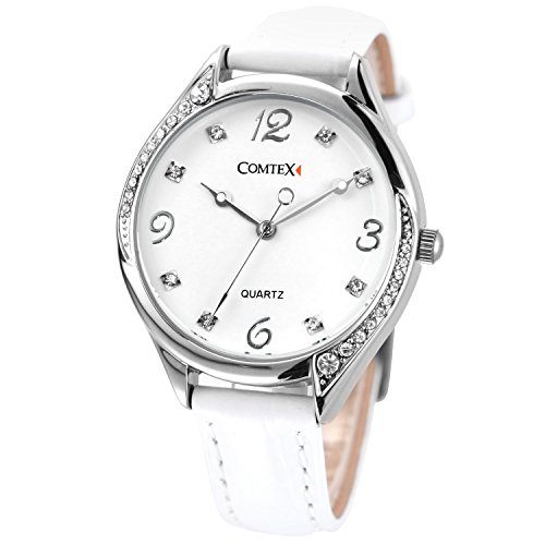 COMTEX Watches for Women Lady Quartz White Leather Strap White Tone Casual Crystal Wristwatch