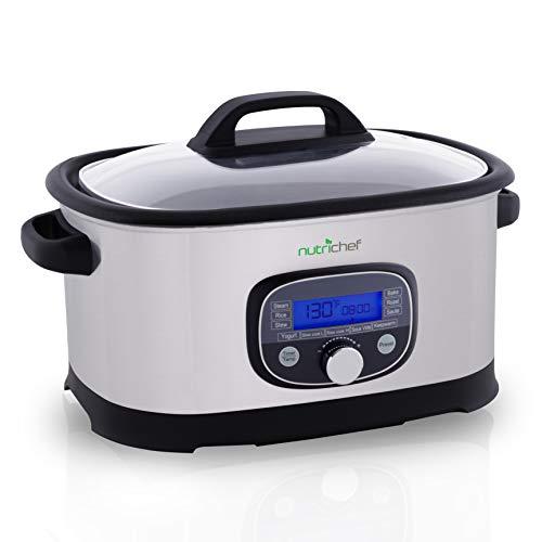 (NutriChef 33966 Sous Vide Slow 11 in 1 Steamer Stainless Steel High-Pressure Multi Cooker Crock Pot w/Digital LCD Display Cooking Mode, 6.5 Quart, 11 Preset)