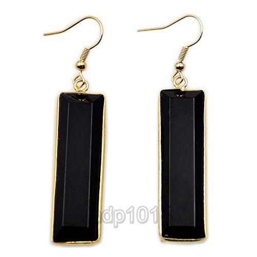 Natural Gemstone 18k Gold Plated Sliced Healing Reiki Chakra Pendant Earrings (Black ()