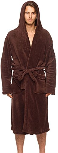 Wanted Men's Lightweight Plush Fleece Hooded Spa Robe (Brown, Small/Medium) -
