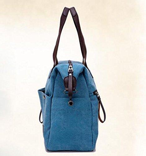 Paquete Bolsa Transversal Diagonal Cremallera Paquete Blue Hombro De Moda Masculino De Bolsa De Sección Casual Lona qrBqTO8