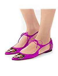 YDN Women Pointy Toe Ballet Shoes Lace-up Animal Pirnt Flats D'orsay Casual Pumps