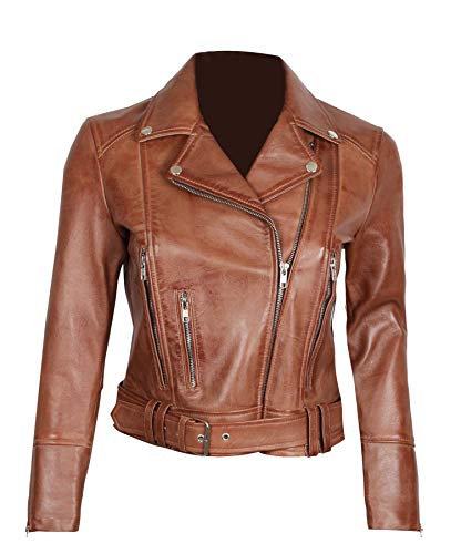 Brown Leather Jacket Women - Genuine Leather Motorcycle Jackets Women| L