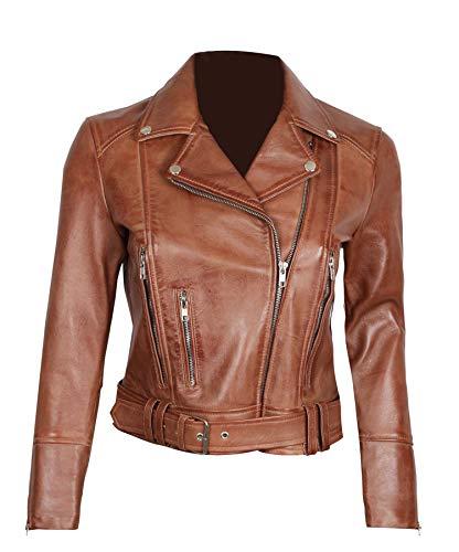 fjackets Brown Leather Jacket Women - Genuine Leather Motorcycle Jackets Women| [1300192], Aldo S