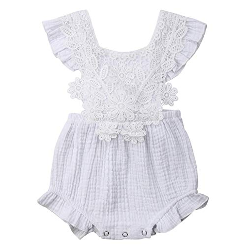 (GRNSHTS Baby Girls Romper Infant Girl Lcae Bodysuit Ruffle Onesie Backless Iumpsuit Summer Clothes (Lace White-2, 0-6 Months))