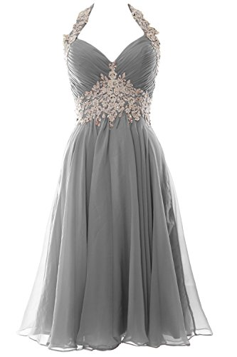 Homecoming Formal Wedding V Halter Gown Women Grau Short Neck Prom MACloth Dress zRgq66