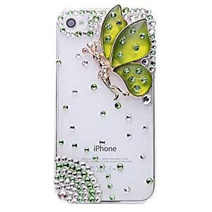 Spirit Butterfly Jewelry Covered Back Case for iPhone 4/4S(Assorted Color) --- COLOR:Red