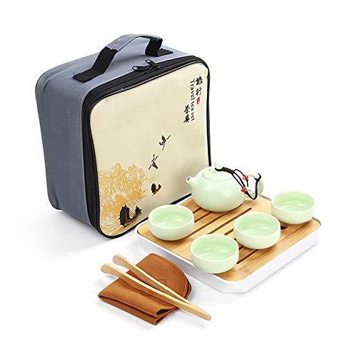 PILIBEIBEI Portable Travel Kungfu Tea Set Handmade Chinese Vintage, Porcelain(Qinghua Style - 4 Teacups & Teapot & Tea Tank)