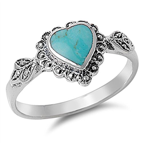 Sterling Silver Women's Simulated Turquoise Wedding Heart Ring (Sizes 4-10) (Ring Size 9) by Prime Jewelry Collection