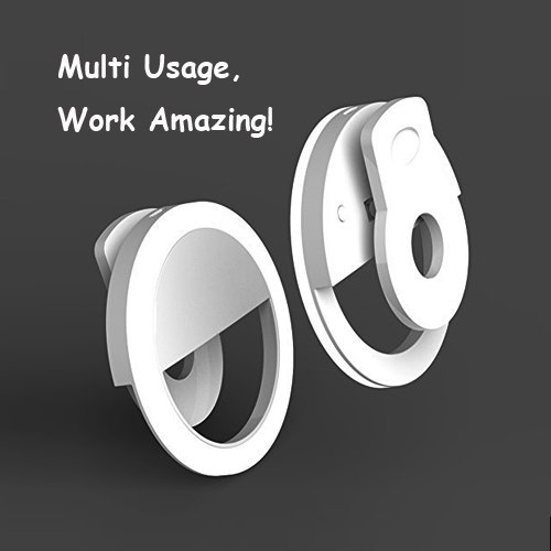 Auxiwa Clip on Selfie Ring Light [Rechargeable Battery] with 36 LED for Smart Phone Camera Round Shape, White by Auxiwa (Image #4)