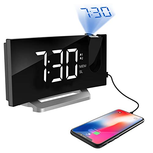 TOPELEK Projection Clock [Upgraded Model], Digital Alarm Clock with 4 Alarm Voice, Dual Alarm, 7'' Curved-Screen FM Radio Alarm Clock with Dimmer, Snooze Mode, Sleep Timer, USB Charging Port, White