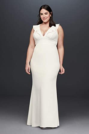 David\'s Bridal Plunging V Ruffle Strap Plus Size Crepe Gown Style ...