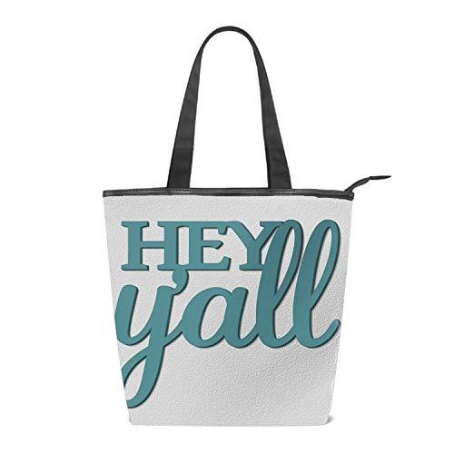 a8ae2a6db Women's Canvas Zipper Closure Handbag Blue Font Hey Y'all Handbags Shoulder  Lunch Tote Bag