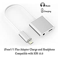 iPhone 7 Adapter, [upgrade] iPhone 7 Plus Accessories Charge and Headphone Splitter Adapter for Lightning