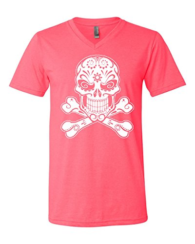 Skull with Crossbones V-Neck T-Shirt Sugar Skull Calavera Tee Neon Pink XL (Neon Skull And Crossbones)