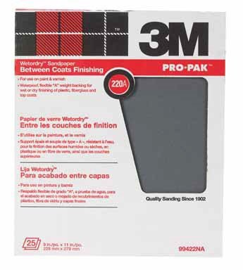 3M 99422NA 220A Grit Between Finish Coats Sanding Sheets