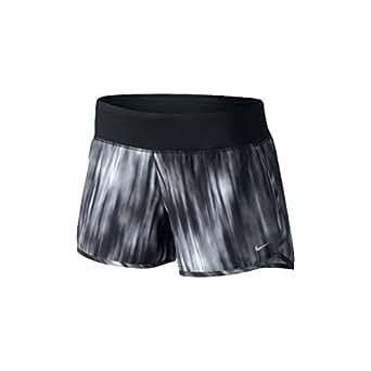 "Nike Womens Printed Rival 4"" Short Black/Black/Reflective Silver Small"