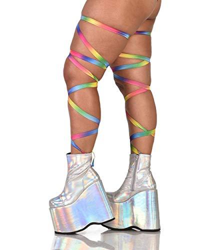 iHeartRaves Pair of Non-Slip Rainbow Leg Wraps (Plus Size)