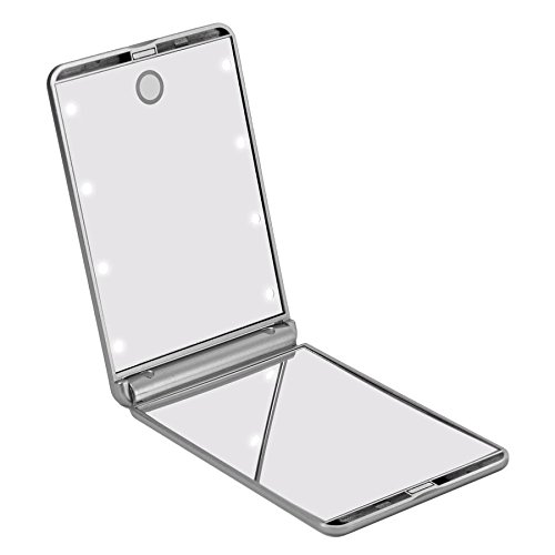 Impressions Vanity Touch up Bifold Compact Mirror with 8 Bright White LEDs - Compact Makeup Mirror - Personal Mirror With LED - Makeup Mirror - Shimmery Silver