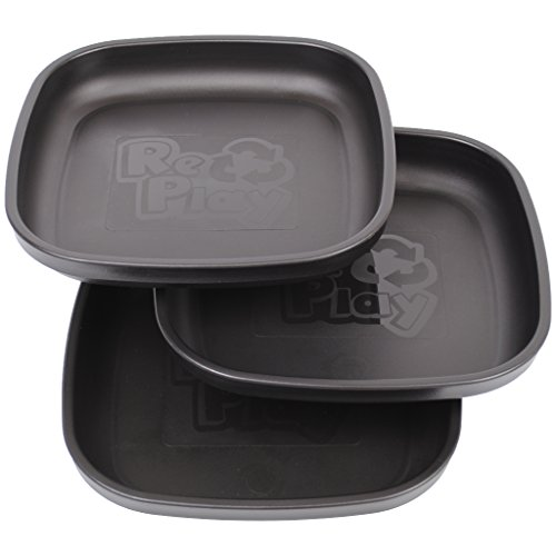 Re-Play Made in USA 3pk Plates with Deep Sides for Baby, Toddler - Black
