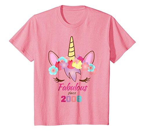 Kids Unicorn Birthday Shirt 9th Birthday 10th Birthday 2008 8 Pink