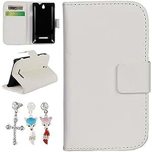 Mobilefashion Funda de PU Cuero Case para Sony Xperia E C1504 (Blanco) Con Soporte Plegable y Ranura para tarjeta + 1x Color al azar gratis tapón de polvo