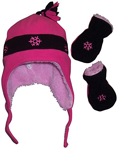 N'Ice Caps Girls Snow Embroidered Sherpa Lined Micro Fleece Hat and Mitten Set (6-18 Months, Fuchsia/Black)