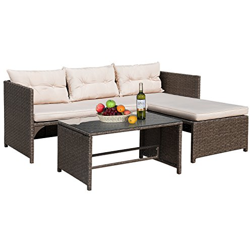 Flamaker Patio Furniture Rattan Sofa and Chaise Lounge 3 Piece Patio Set with Coffee Table,Wicker Furniture Set for Garden Poolside Porch Backyard Lawn Balcony Use (Brown/Grey)