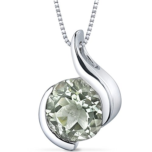 Green Amethyst Bezel Pendant Necklace Sterling Silver 1.75 Carats