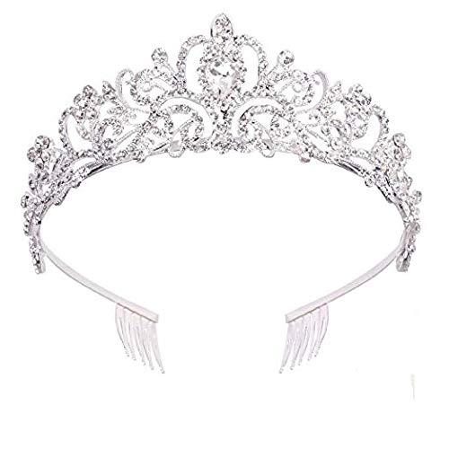 Crystal Tiara with Combs Crown Headband Princess Elegant Tiara for Women Young Ladies Bridal Wedding Proms Birthday Party, Silver