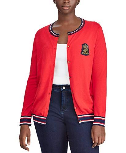 (LAUREN RALPH LAUREN Womens Plus Size Embroidered Cardigan (Red, 1X))