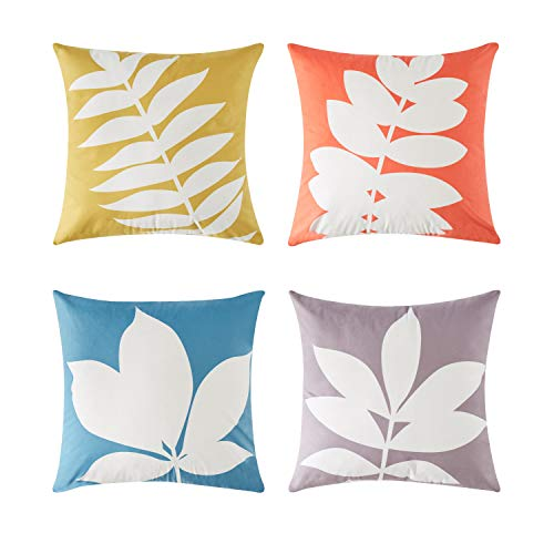 Top Finel Square Decorative Throw Pillow Covers Soft Microfiber Outdoor Cushion Covers 18 X 18 For Sofa Bed, Set of 4, Leaves