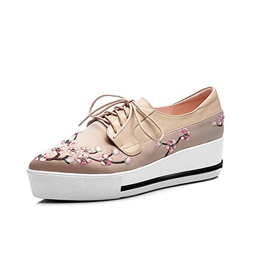 Shoes Pumps Mid Women's Up Leather Apricot Pointed Toe Handmade Genuine Cute Nine Heel Lace Seven Flowers aq6Ogg