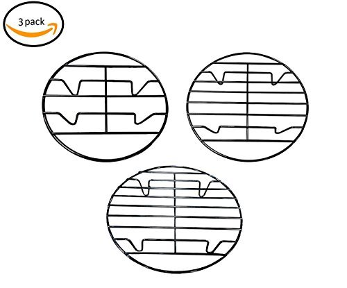 Bioexcel Pack of 3 - Round Vegetable Steamer Rack for Cooking - Chrome Plated 8'', 9.5'' & 10 Inch, Great for Baking Cooling Rack