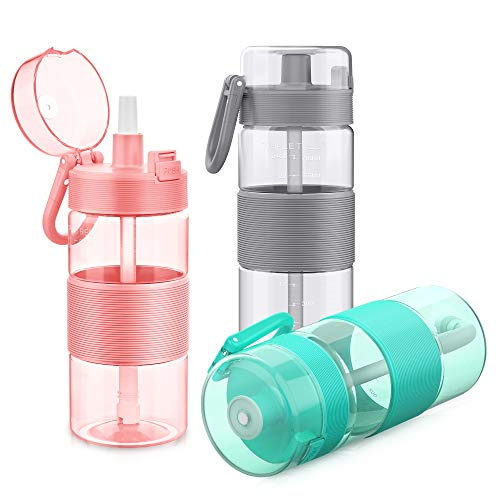 TRIPLE TREE Water Bottle with Straw, 27oz Tritan Sports Water Bottle with Flip-Up Lid, Spring Buckle, for Outdoor Hiking Camping Travel – BPA Free (Pink)