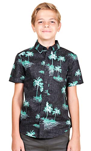 Brooklyn Athletics Boys Hawaiian Aloha Shirt Vintage Casual Button Down Tee