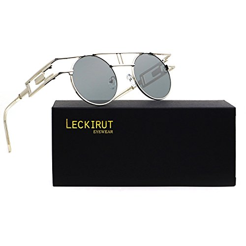 Leckirut Women Men Round Sunglasses Retro Vintage Steampunk Style Mirror Reflective Circle lens silver frame/gray lens