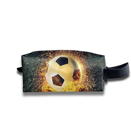 Small Toiletry Bag Soccer Fire,Pencil Case,Travel Essentials Bag,Dopp Kit Bag For Men And Women With Handle -