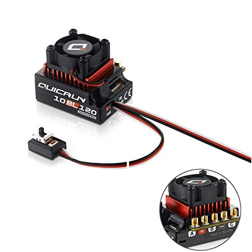 Xiangtat Hobbywing QUICRUN 10BL120 Sensored 120A 2-3S Lipo Speed Controller Brushless ESC for 1/10 1/12 RC Car