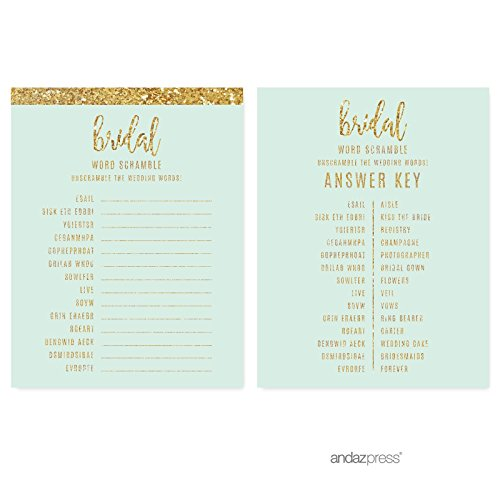 5-Feet Andaz Press Mint Green Gold Glitter Print Wedding Collection 1 Set Bride to Be Hanging Pennant Party Banner with String