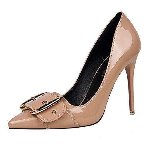 appuntita è di alta con Naked comodo scarpe YMFIE color ladies' da europeo lavoro scarpe In alla di di lacca sexy tacco unico scarpe stile moda semplice zwvqOFtf