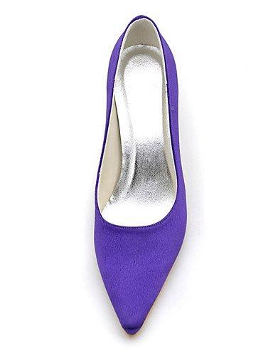 GGX/ Schuhe Seide Stilettferse Fersen / spitze Zehe Fersen Hochzeit / Partei der Frauen&Abend / Kleid lila 3in-3 3/4in-purple