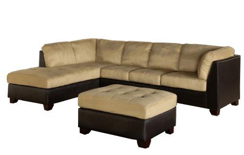 Abbyson Living Santa Maria Sectional Sofa/Ottoman, Cream