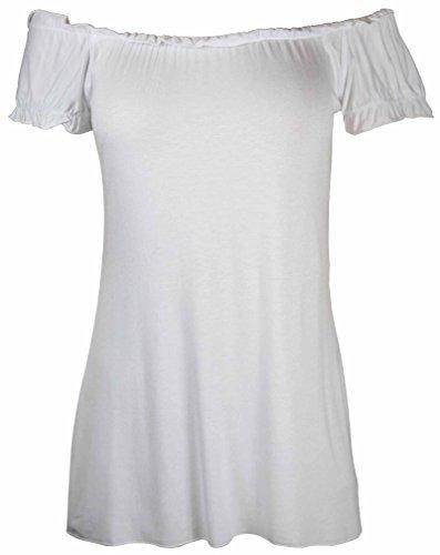 PurpleHanger Women's Plus Size Off Shoulder Boho Gypsy Top White 18-20