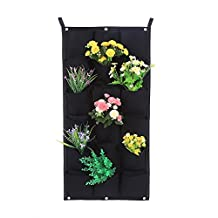 Vertical Wall Garden Planter 18 Pockets Wall-mounted Plant Grow Container Bags Living Felt Wall Hanging Planter for Indoor Outdoor, Black