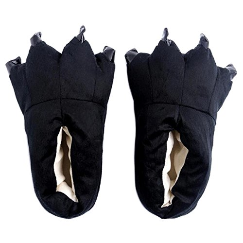 HOTINS Unisex Soft Plush Home Slippers Cosplay Costume Animal Paw Claw Shoes Black M
