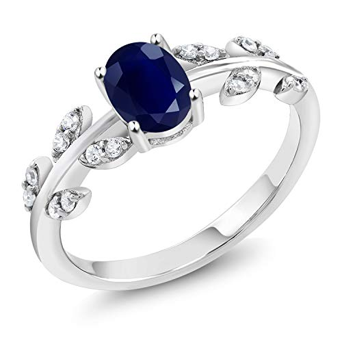 - Gem Stone King Blue Sapphire 925 Sterling Silver Women's Olive Vine Women's Ring (1.23 Ct Oval Gemstone Birthstone Available 5,6,7,8,9) (Size 5)