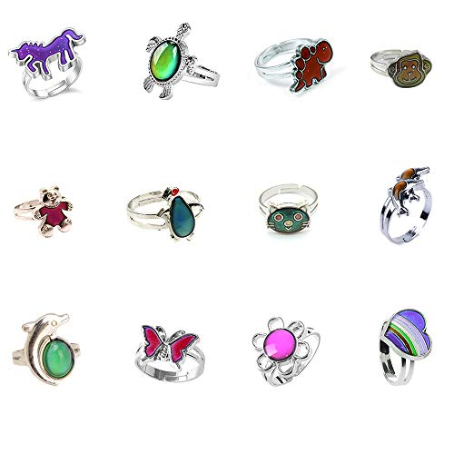 LH1028 12pcs Mixed Mood Rings Classic Temperature Change Color Mood Ring Lovers (Adjustable Size) -