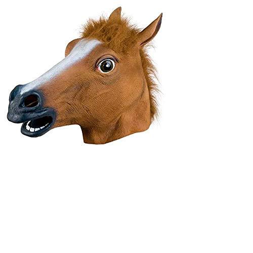 Creepy Horse Head Mask Super Latex Fun hat Purim Halloween (Brown)]()