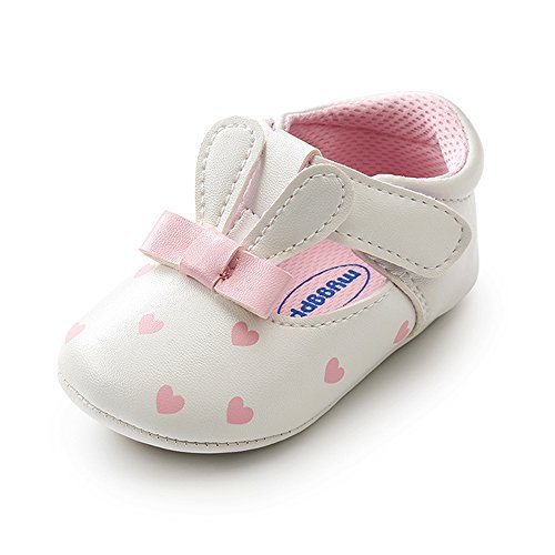 Antheron Baby Girls Mary Jane Shoes Infant Anti-Slip Moccasins Toddler First Walkers Newborn Crib Dress Shoes(White,12-18Month) (White Girls Dress Shoes Toddler)